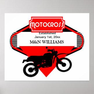 Motocross Dirt Bike Black Red Customize Logo Poster