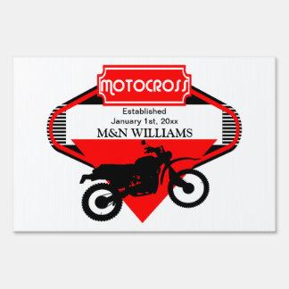 Motocross Dirt Bike Black Red Customize Logo Sign