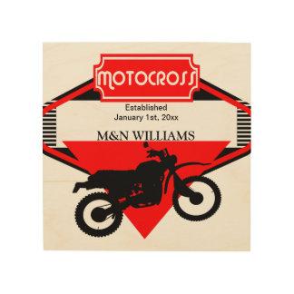 Motocross Dirt Bike Black Red Customize Logo Wood Canvases