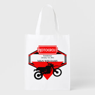 Motocross Dirt Bike Black Red Customize Logo Market Totes