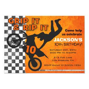 Dirt bike invitations announcements zazzle motocross dirt bike boys birthday party orange invitation filmwisefo