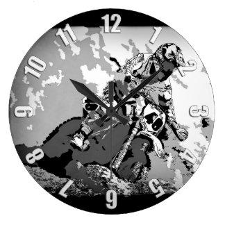 Motocross Dirt-Bike Championship Race Large Clock