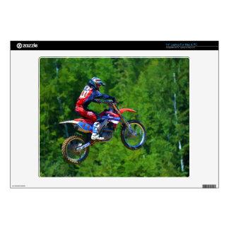 "Motocross Dirt-Bike Racer Getting Air Decal For 14"" Laptop"