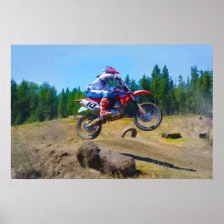 Motocross Dirt-Bike Racer Launching Poster