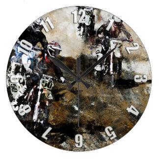 Motocross Dirt-Bike Racing Large Clock
