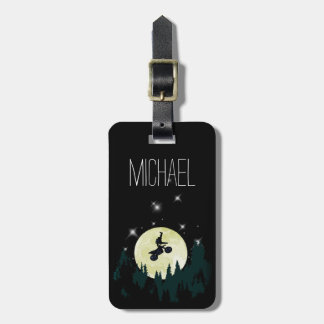 Motocross Dirt Bike Trick Stunt Night Moonlight Luggage Tag