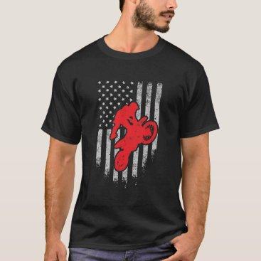 Motocross Dirt Bike USA American Flag T-Shirt