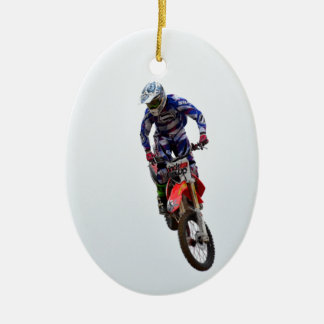 Motocross Double-Sided Oval Ceramic Christmas Ornament