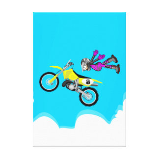 Motocross extreme flying in the air canvas print