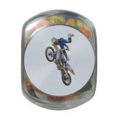 Motocross Extreme Tricks Glass Jar at Zazzle