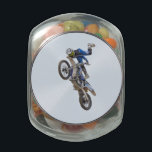 "Motocross Extreme Tricks Jelly Belly Candy Jar<br><div class=""desc"">Extreme motocross tricks against the sky.</div>"