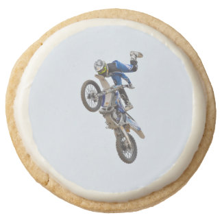 Motocross Extreme Tricks Round Shortbread Cookie