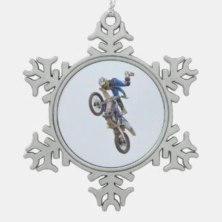 Motocross Extreme Tricks Snowflake Pewter Christmas Ornament
