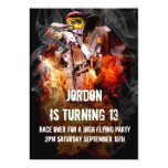 Motocross fire and smoke 5x7 paper invitation card