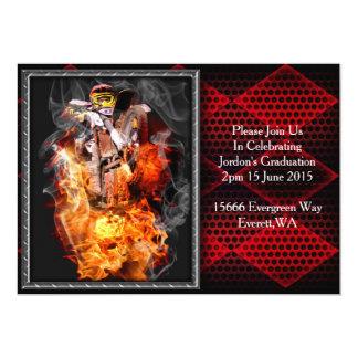 "Motocross fire and smoke 5"" x 7"" invitation card"