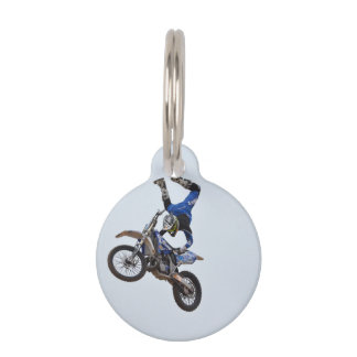 Motocross Flying High Pet Name Tag