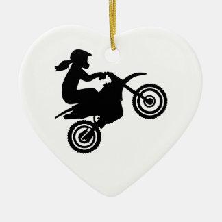Motocross girl woman ceramic ornament
