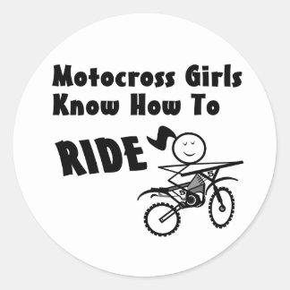 Motocross Girls Round Stickers
