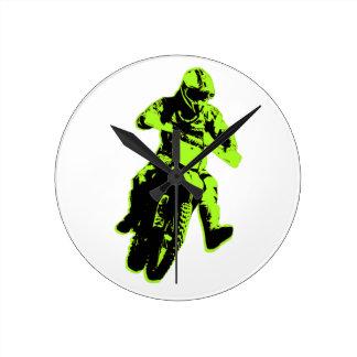 Motocross green round clock