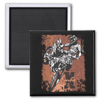 Motocross Grunge 2 Inch Square Magnet