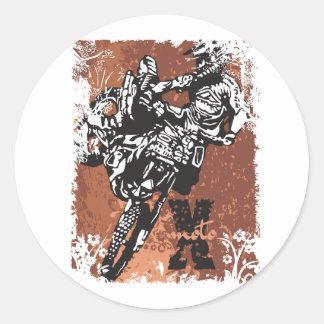 Motocross Grunge Classic Round Sticker