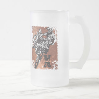 Motocross Grunge Frosted Glass Beer Mug