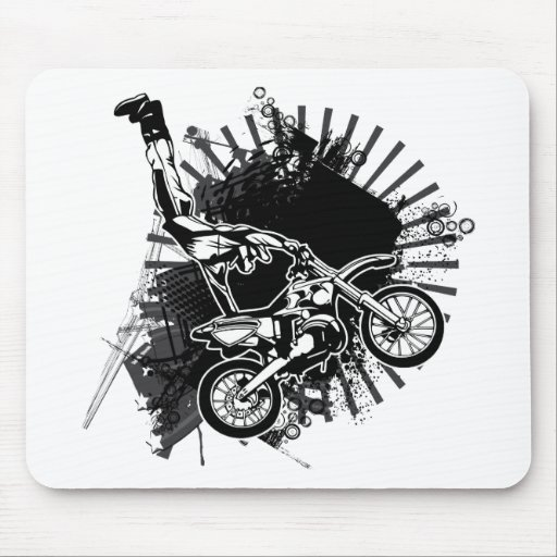 Motocross Grunge Jump Mouse Pad