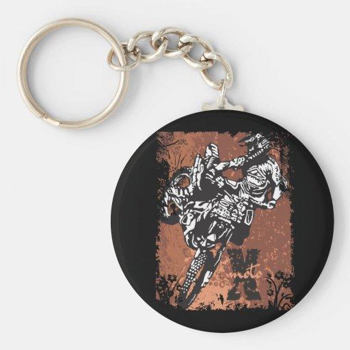 Motocross Grunge Keychain