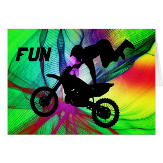 Motocross in a Psychedelic Spider Web Card