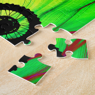 Motocross in a Psychedelic Spider Web Jigsaw Puzzle