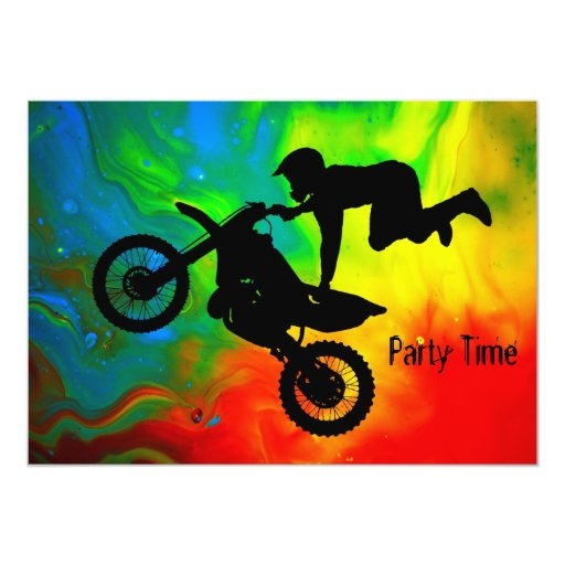 "Motocross in a Solar Flare Up 5"" X 7"" Invitation Card"