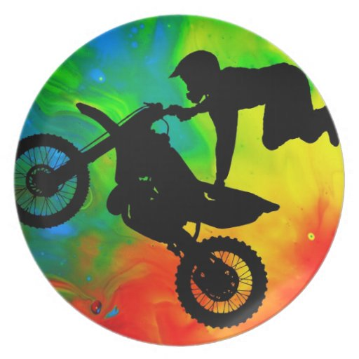 Motocross in a Solar Flare Up Party Plate