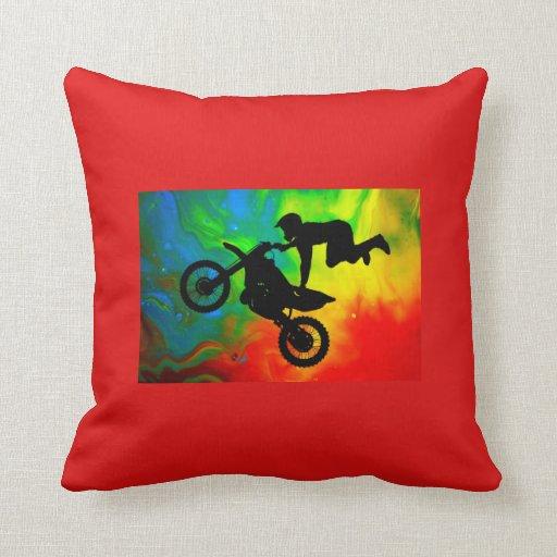 Motocross in a Solar Flare Up Throw Pillows