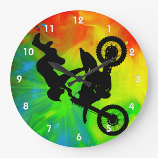Motocross in a Solar Flareup Large Clock