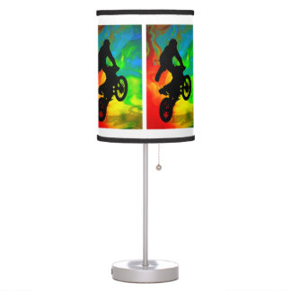 Motocross in a Solar Meltdown ANY COLOR BACKGROUND Table Lamps