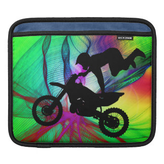 Motocross in Psychedelic Spider Web iPad Sleeve
