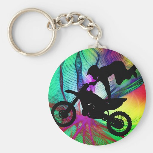 Motocross in Psychedelic Spider Web Basic Round Button Keychain