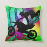 Motocross in Psychedelic Spider Web Pillows