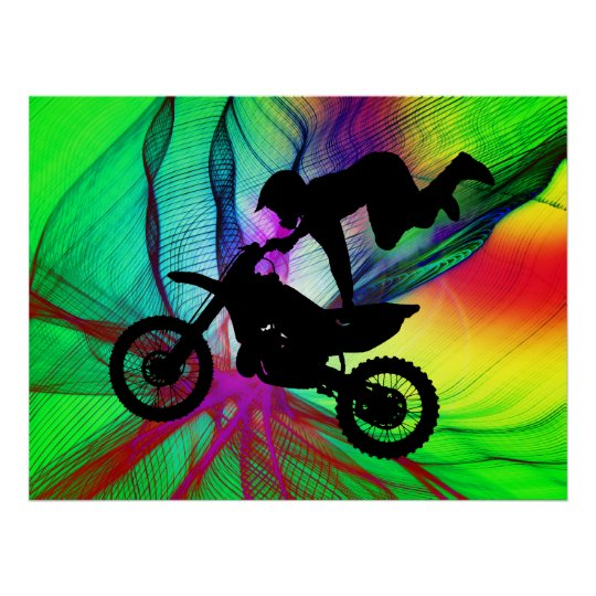 Motocross in Psychedelic Spider Web Poster