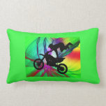 Motocross in Psychedelic Spider Web Throw Pillows