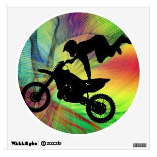 Motocross in Psychedelic Spider Web Wall Decal