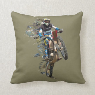 Motocross in the Desert with Flying Pieces Throw Pillow