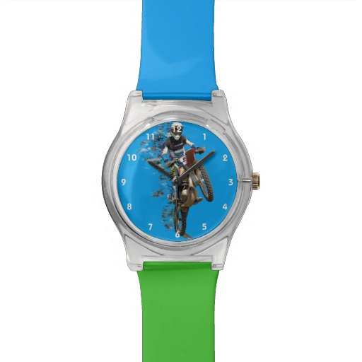 Zazzle Motocross in the Desert with Flying Pieces Watch