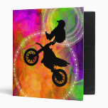 Motocross Jump in Fire Circles 3 Ring Binders