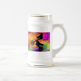 Motocross Jump in Fire Circles Beer Stein