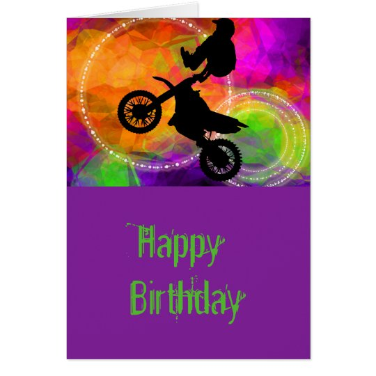 Motocross Jump in Fire Circles Card