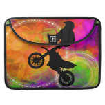 Motocross Jump in Fire Circles Sleeve For MacBook Pro