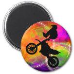 Motocross Jump in Fire Circles Magnet