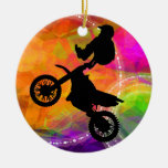 Motocross Jump in Fire Circles Christmas Tree Ornament