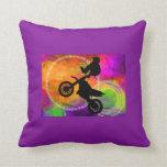 Motocross Jump in Fire Circles Pillows
